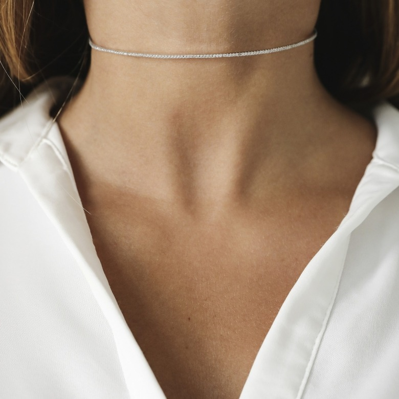 HLC - white mini zircon choker 2