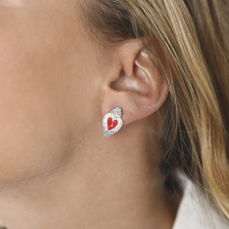 HLC - red enamel heart earrings 2